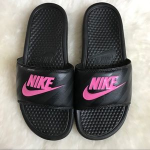 Nike Pink and Black Slides Size 9